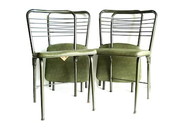 Vintage Cosco Set of 4 Green Folding Gatefold Chairs