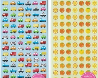 Japanese  Paper Seal stickers (Pick 1) - Cars or Oranges