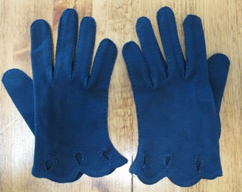 Vintage 1950's Navy Wrist Gloves Ladies Short Cotton Gloves