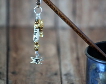 Beaded Hairstick with The English Patient Book Beads and Biplane Charm