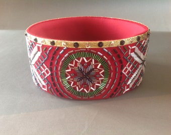 Handmade ethnographic crown with Latvian writings