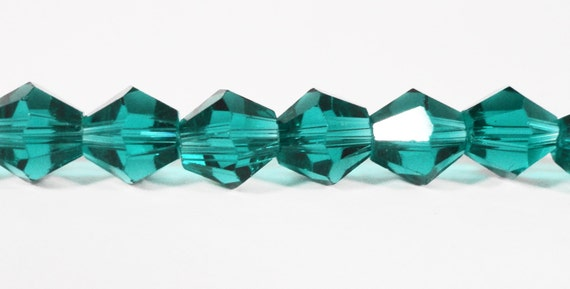 Bicone Crystal Beads 8mm Teal Green (Blue-Green) Faceted Chinese Crystal Glass Beads for Jewelry Making on a 7 1/2 Inch Strand with 25 Beads