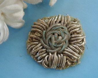 Rare Antique French Early 1900s Silver Aqua Bullion Handmade Floral Flower Metal Thread Applique Vintage Ribbon Work Rosette Flapper Trim