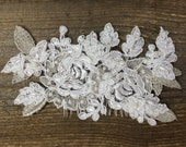 Anastasia, White lace hair piece with hand sewn crystals and pearls on comb