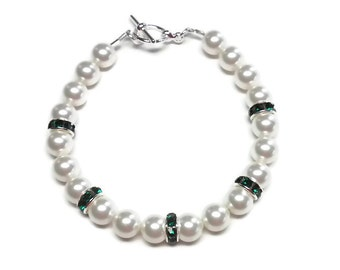 Swarovski Pearl Bracelet with Emerald Rhinestone Rondelles
