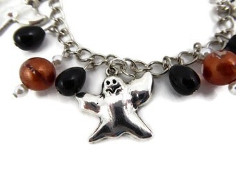 Ghost Charm bracelet with black and orange beads