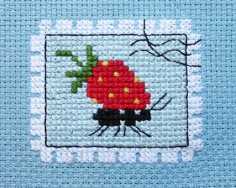 """The scheme for cross stitch """" Postage stamp happiness ant"""""""
