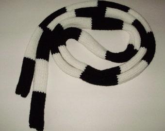 Ready2Ship*Knives Chau Battle Scarf Replica Hand Knit Black & White 8.33Ft Long Cosplay Scott Pilgrim from Ashlee's Knits Skinny Scarf