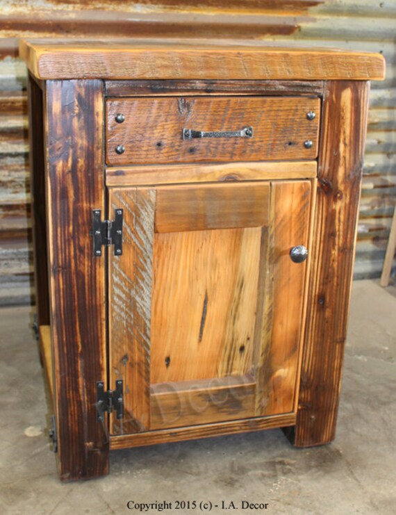 Rustic Wood Bedside Table: Rustic Barnwood Night Stand Reclaimed Wood Bedside Tables