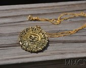 Pirates of the Caribbean Captain Jack Sparrow Skull Necklace with 18K Gold Filled Chain
