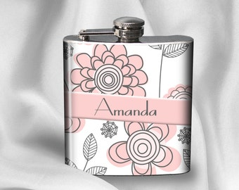 SALE! Personalized Flask - Pretty in Pink - Liquor Hip Flask - Bachelorette Party Bridesmaid Birthday Mother's Day- Cyber Monday