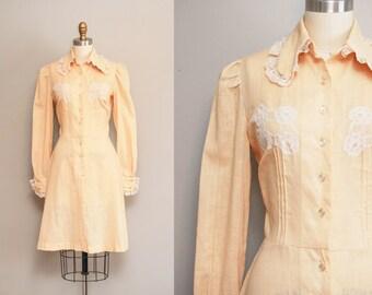Vintage 1970s Cream Western Mini Dress / 70s Linen Shirwaist Dress / Long Sleeves / Size MED
