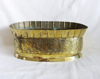 Oblong vintage brass pot, windowsill planter, ornate gold jardiniere, Copper base. Container, Handmade bowl, hand forged, patina, home decor