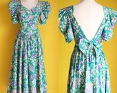 Reserved  for luoli cat 80s Open Back Floral Dress - Laura Ashley Formal Summer Dress - Long Backless Full Skirt Puffy Sleeve Dress - Size