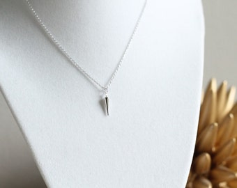 SALE Medium Silver Spike Necklace Layering Punk