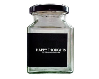 Glass Happy Thoughts Jar: Positive gift idea to combat depression. Gift idea for best friend, him, her, girl gang or feminists.