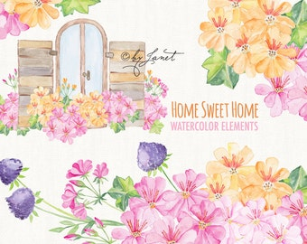 Home Sweet Home - Floral Watercolor Elements - PNG file