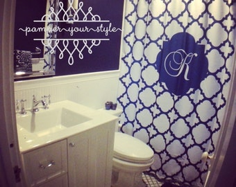 Navy and White Shower Curtain by Pamper Your Style- Lattice, Quatrefoil, Fleur Di Lis Shower Curtain, Custom Monogrammed Curtain