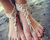 Gold beaded sparkly BAREFOOT sandles, barefoot sandal, belly dancing footwear, beach BOHO party foot jewelry, foot thongs, bottomless shoes