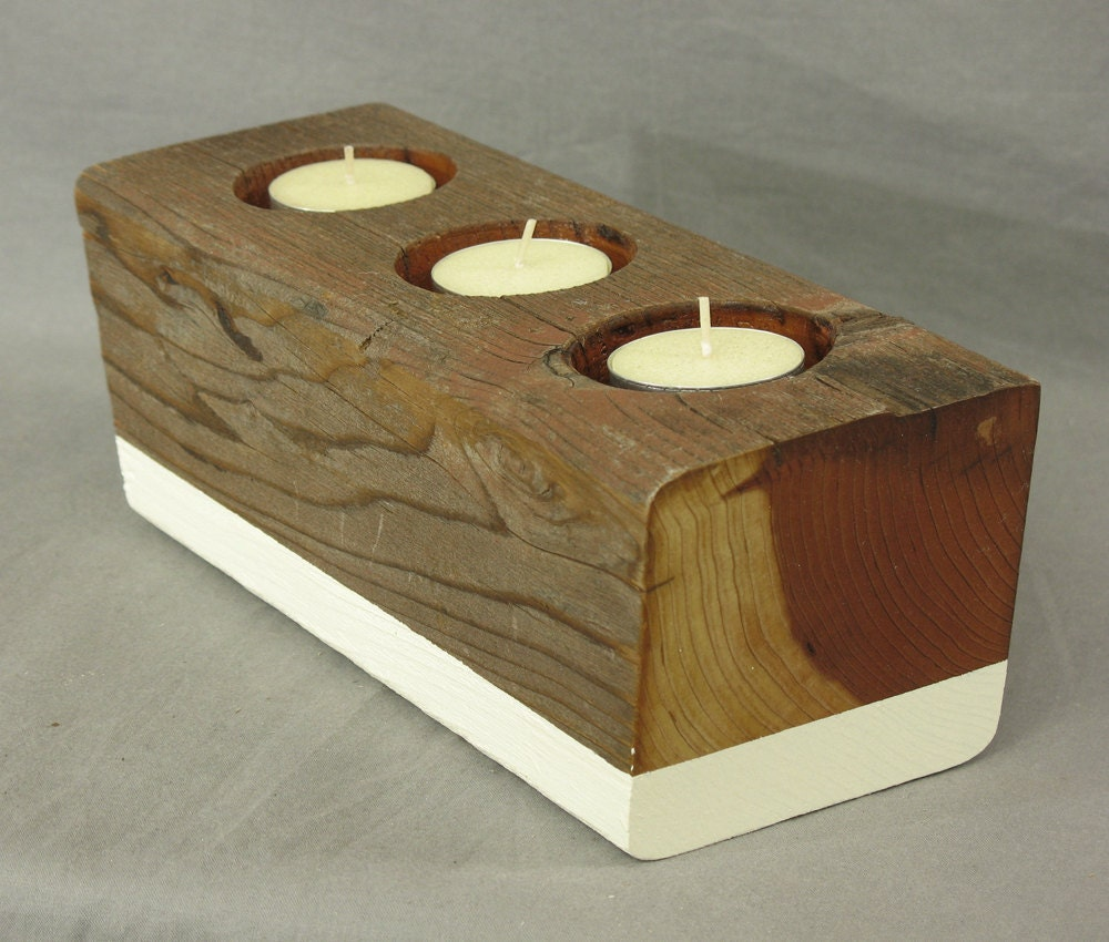 Reclaimed wood candle holder for votive candles or tea lights