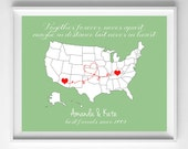 Friend Moving Gift-Best Friend Family USA Map Long Distance 8x10 Printable-Choose Your States and Color from paper and palette