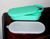 Vintage Tupperware 3 Piece Cheese and Vegetable Grater, Storage Container System, Jadeite Green, Excellent