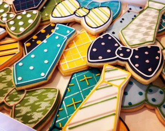 Necktie, Bowtie, Fathers Day Decorated Sugar Cookies-1 dozen