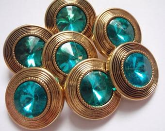 8 Golden Teal Gem Centered Buttons 22mm Plastic