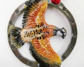 Painted ~ Bobwhite Quail Flying ~ Holiday Ornament ~ BP033OR