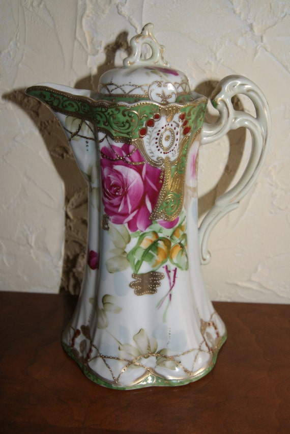 Vintage MORIAGE Hand Painted Made In Japan Chocolate Pot 1920s Floral On White Porcelain Gold Trim