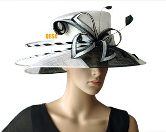 White/black sinamay hat fascinator with feather,for Kentucky derby,Melbourne cup.Ascot races,wedding party,church