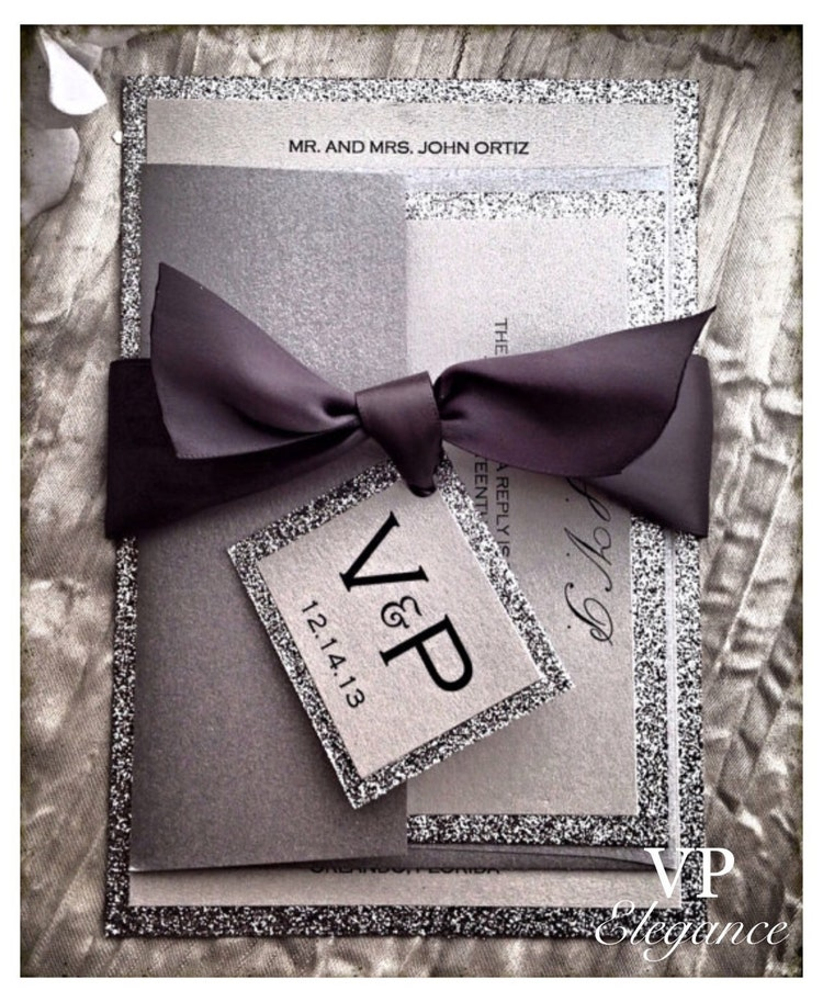 Silver invitations for wedding and all elegant by vpelegance for Hochzeitseinladungen vintage mit spitze