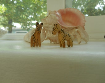 Two Handcarved, Handpainted Wooden Tigers - Miniature - Teeny - Tiny 3/4 inch high