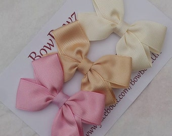 Small Pinwheel Bow Gift Set ,Peachs and Pinks  Girls accessories