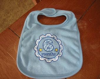 Embroidered Baby Bib - 6 Month Medallion Bib - Boy