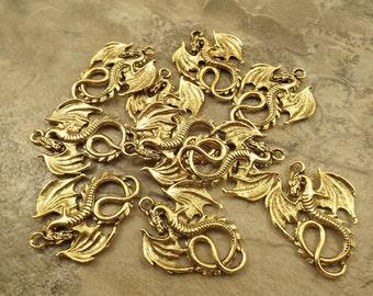 10 Gold Tone Pewter DRAGON Pendants - 5229