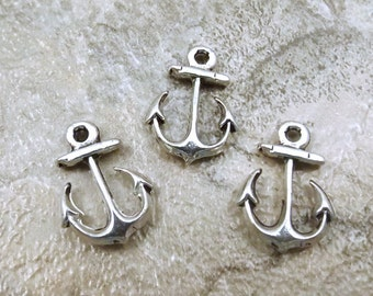 Set of 3 Pewter Anchor Charms -  5304