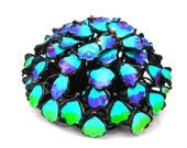 Mod Flower Power Brooch Blue Green Hippie High Dome Enamel Flowers Pin 1960's Vintage Jewelry Collectible