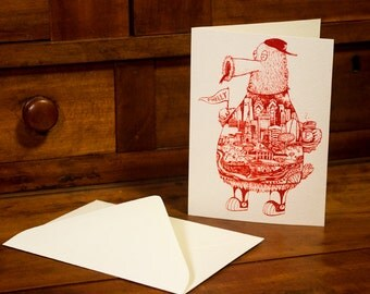 FREE SHIPPING -- Philadelphia Phanatic -- Paul Carpenter Art -- Blank Note Card with Envelope