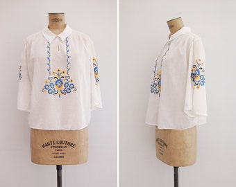 1930s Blouse - Vintage 30s Embroidered Blouse - Imogen Blouse