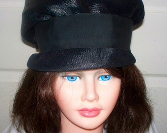 1960s Black Tall Pillbox Hat  - Excellent Condition  - Unmarked