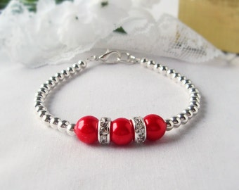 FREE SHIPPING The TRIIIXXY Bracelet, This One's in Red, Mix and Match -- One, Two or a Set of Three