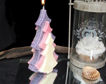 candle fir, white, pink and violet scent of clementine Christmas
