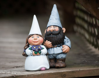 Ceramic Wedding Garden Gnome Set- 14 inch Groom, 11 inch bride, hand painted lawn or garden gnomes, outdoor or indoor