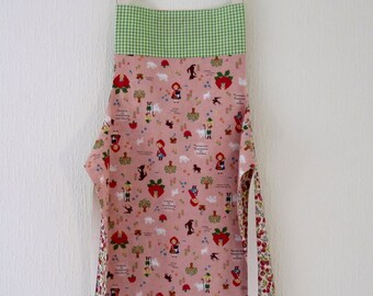 Girls Reversible Apron - Red Riding Hood and the Strawberries