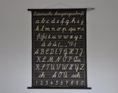 Vintage Pull Down School Chart. Alphabet. Germany. Classroom Wall Chart. Cursive. Black background. Handwriting. 0972