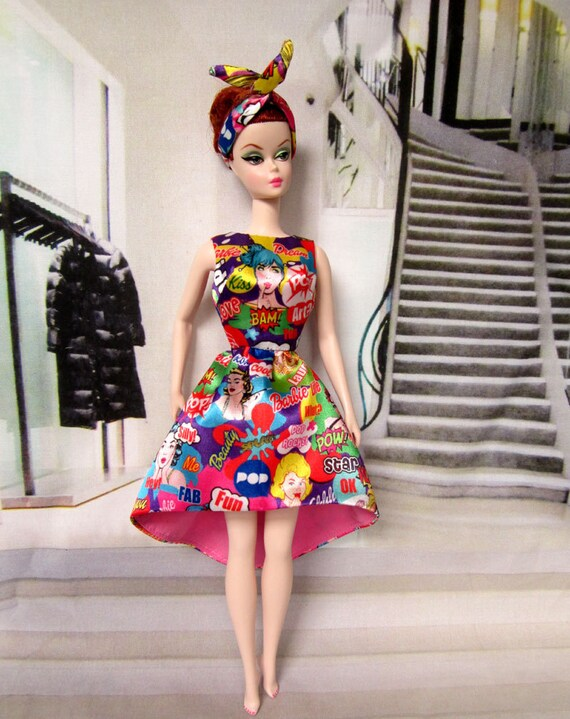 Barbie 2016 Convention themed Pop Art Dolls just Want to Have Fun Cocktail Party Dress, mini handbag & Hairband for silkstone