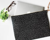 "Modern Laptop Sleeve - **NOW IN 13"" MACBOOK size** Specks Black Pattern - MacBook Case One Size Fits Most"