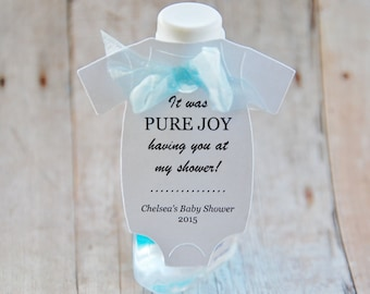 "Hand Sanitizer Gift Tags ~ PURE JOY having you at my shower ~ Sanitizer Favors ~ 10 tags ~ 2 1/2"" ~ Multiple Colors to Choose From"