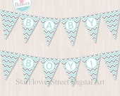 Mint Gray Baby Shower Banner BABY BOY Chevron baby shower decoration green pennant flags printable digital download DIY aqua announcement